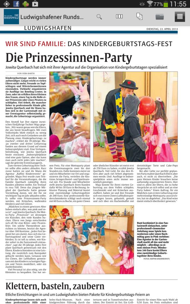 Rheinpfalz, Artikel Raffini Kinderevents